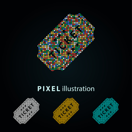 Ticket - pixel icon. Vector Illustration. Design logo element. Isolated on black background. It is easy to change to any color. Illustration