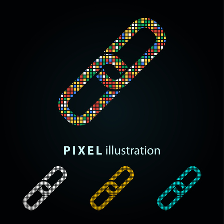 Link - pixel icon. Vector Illustration. Design  element. Isolated on black background. It is easy to change to any color. Illustration