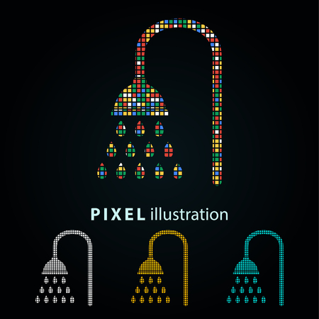 Shower - pixel icon. Vector Illustration. Design  element. Isolated on black background. It is easy to change to any color.