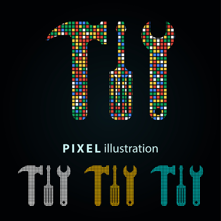 Tool - pixel icon. Vector Illustration. Design  element. Isolated on black background. It is easy to change to any color.