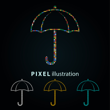 Umbrella - pixel icon. Vector Illustration. Design  element. Isolated on black background. It is easy to change to any color.
