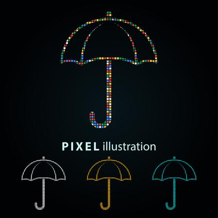 Umbrella - pixel icon. Vector Illustration. Design element. Isolated on black background. It is easy to change to any color. Vektoros illusztráció