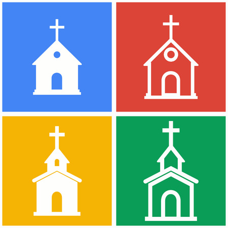 Church vector icons set. White illustration isolated for graphic and web design.