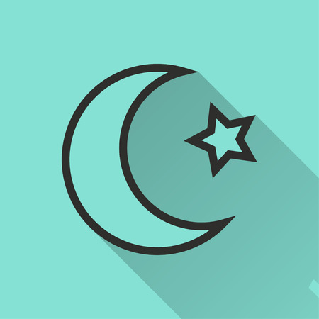 Moon star vector icon. Black illustration isolated on green background for graphic and web design. Illustration