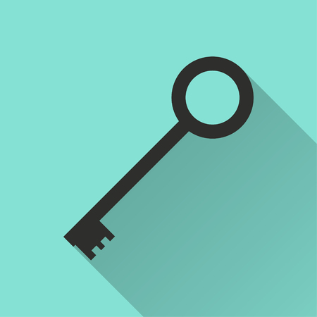 Key vector icon. Black illustration isolated on green background for graphic and web design.