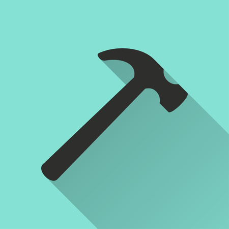 tooling: Hammer vector icon. Black illustration isolated on green background for graphic and web design. Illustration