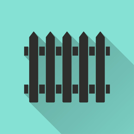 Fence vector icon. Black illustration isolated on green background for graphic and web design.