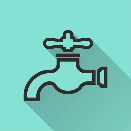 ooze: Faucet vector icon. Black illustration isolated on green background for graphic and web design. Illustration
