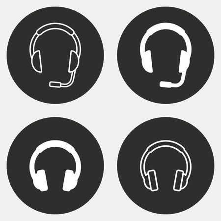 hear business call: Headphone vector icons set. White illustration isolated for graphic and web design. Illustration