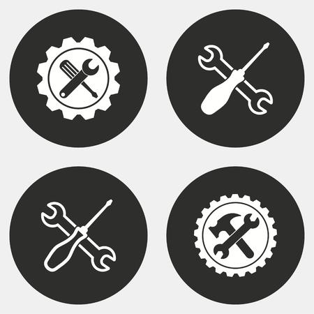 Set van gereedschap vector iconen. Witte illustratie geïsoleerd voor grafisch en webdesign.