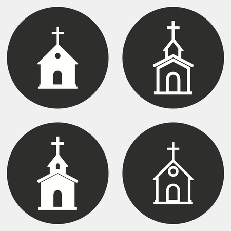 alter: Church vector icons set. White illustration isolated for graphic and web design.