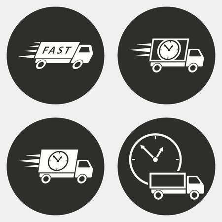 Snelle levering vector pictogrammen instellen. Witte illustratie geïsoleerd voor grafische en webdesign.