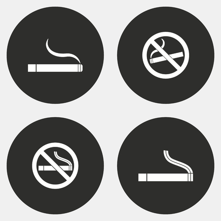 pernicious habit: Smoke vector icons set. White illustration isolated for graphic and web design. Illustration