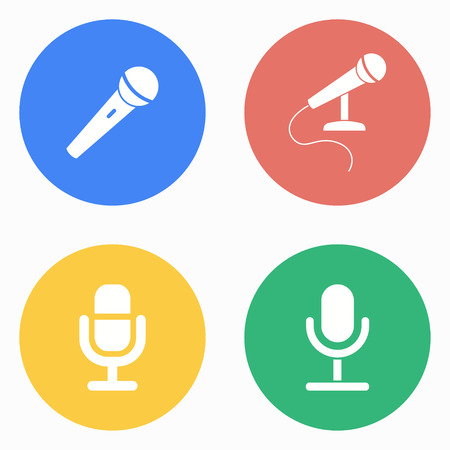 amplification: Microphone vector icons set. White illustration isolated for graphic and web design. Illustration