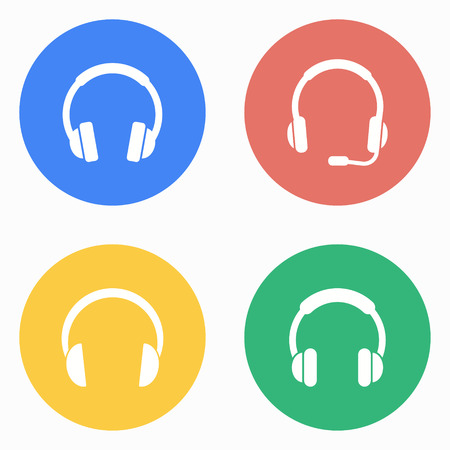 earphone: Headphone vector icons set. White illustration isolated for graphic and web design. Illustration