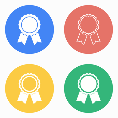 Award vector icons set. White illustration isolated for graphic and web design.