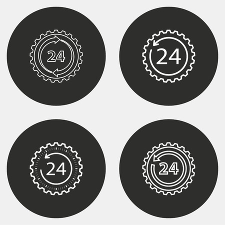 twenty four hour: 24 hour service vector icon. White illustration isolated on black background for graphic and web design.