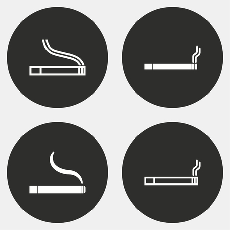 artistic addiction: Smoke vector icon. White illustration isolated on black background for graphic and web design. Illustration