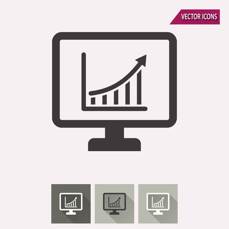 diagnosing: Diagram screen vector icon. Illustration isolated for graphic and web design. Illustration