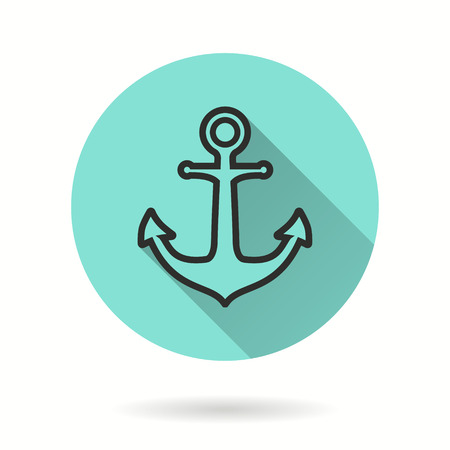 Anchor vector icon. Black illustration isolated on green background for graphic and web design.