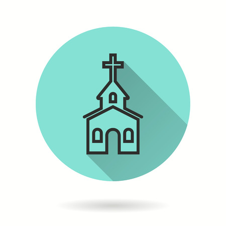 Church vector icon. Black illustration isolated on green background for graphic and web design.