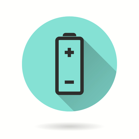 Battery vector icon. Black illustration isolated on green background for graphic and web design.