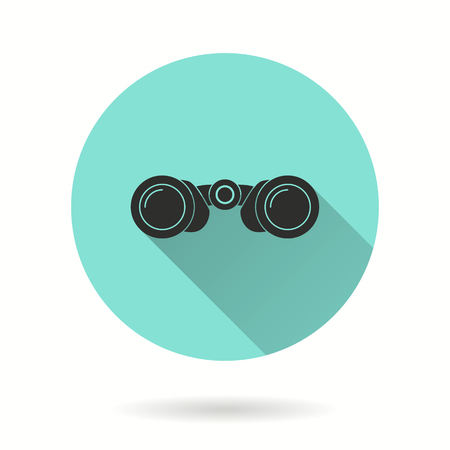 Binocular vector icon. Black illustration isolated on green background for graphic and web design.