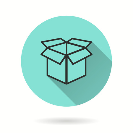 Box vector icon. Black illustration isolated on green background for graphic and web design.