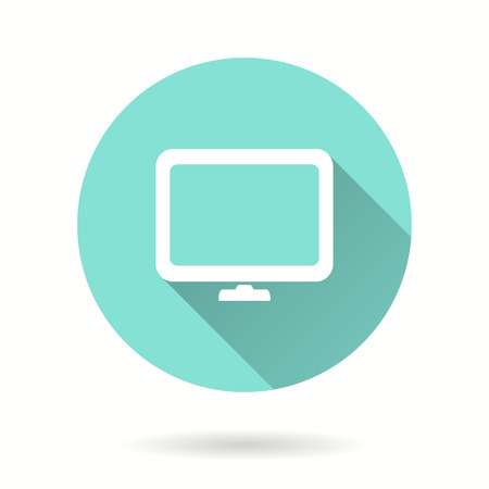 TV vector icon with long shadow. Illustration isolated for graphic and web design. Illustration