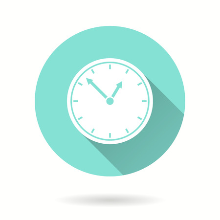 Clock vector icon with long shadow. Illustration isolated for graphic and web design.