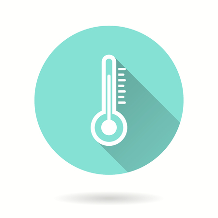 Thermometer vector icon with long shadow. Illustration isolated for graphic and web design.