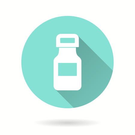 Medicine bottle vector icon with long shadow. Illustration isolated for graphic and web design.