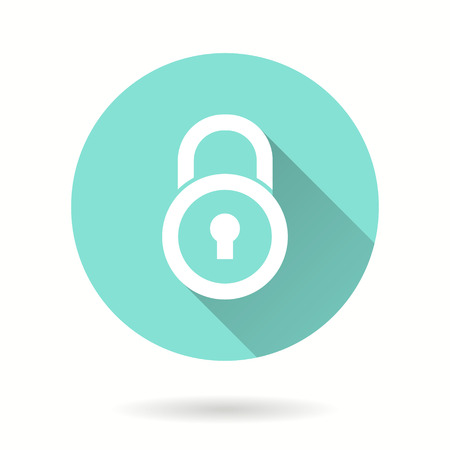 safeguards: Lock vector icon with long shadow. Illustration isolated for graphic and web design.