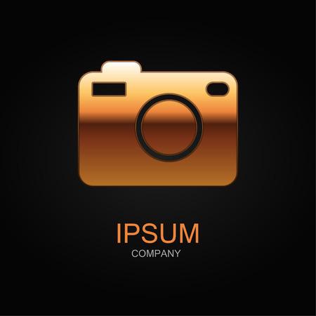 photo icon: Photo icon. Vector Illustration. Design logo element. Isolated on black background.