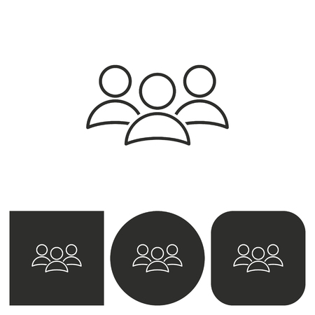 black people: People - black and white icons. Vector illustration.