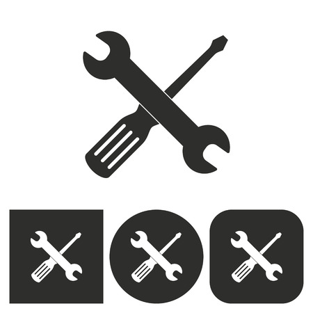 Tool - black and white icons. Vector illustration. Illustration