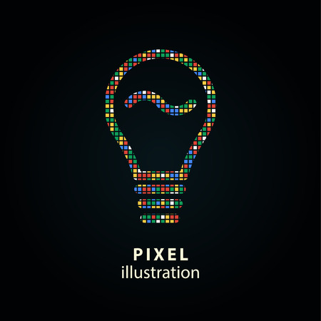 invent clever: Lamp - pixel icon. Vector Illustration. Design  element. Isolated on black background. It is easy to change to any color.