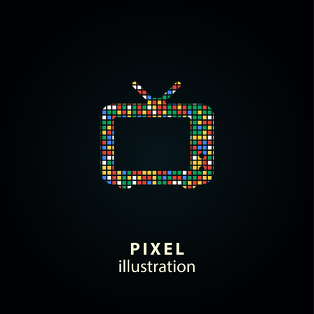 TV - pixel icon. Vector Illustration. Design  element. Isolated on black background. It is easy to change to any color. Illustration