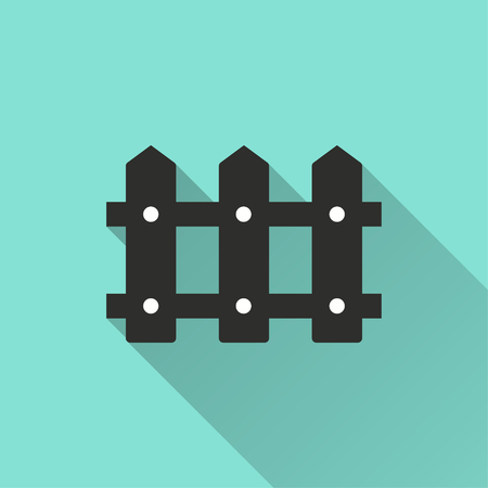 dissociation: Fence vector icon with long shadow. Illustration isolated for graphic and web design. Illustration