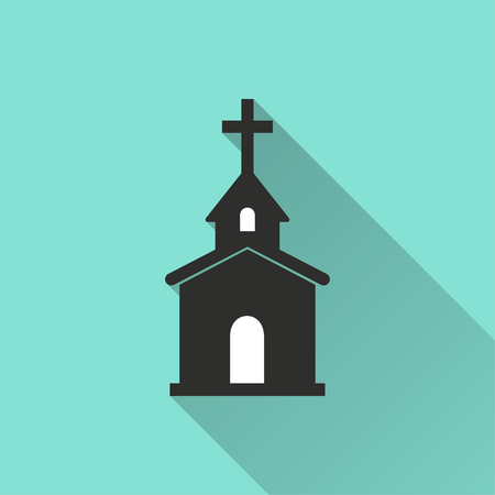 Church vector icon with long shadow. Illustration isolated for graphic and web design.