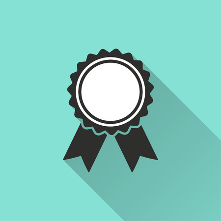 Award vector icon with long shadow. Illustration isolated for graphic and web design.
