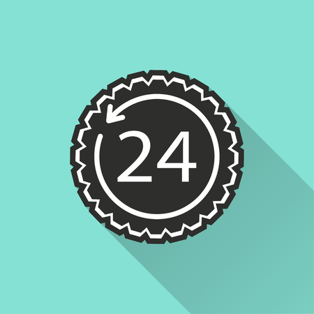 24 hour service vector icon with long shadow. Illustration isolated for graphic and web design.