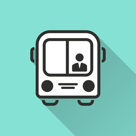 Bus vector icon with long shadow. Illustration isolated for graphic and web design. Illustration