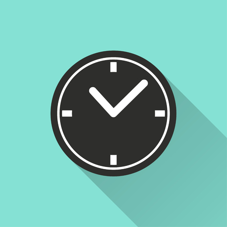 clockwise: Clock vector icon with long shadow. Illustration isolated for graphic and web design.