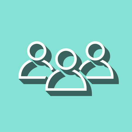 workforce: People vector icon with shadow. White illustration isolated on green background for graphic and web design.
