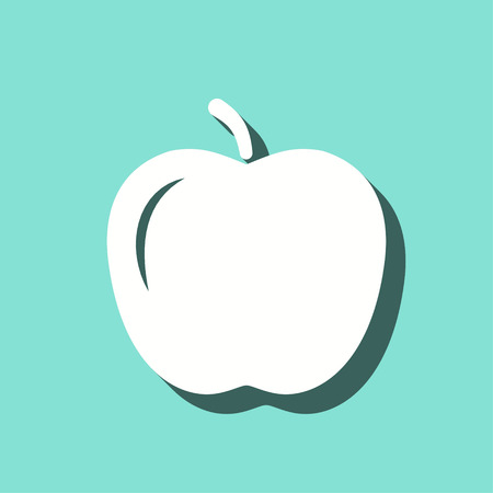 Apple vector icon with shadow. White illustration isolated on green background for graphic and web design.
