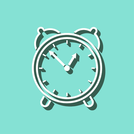 Clock vector icon with shadow. White illustration isolated on green background for graphic and web design.