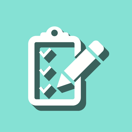 priority: Clipboard pencil vector icon with shadow. White illustration isolated on green background for graphic and web design.