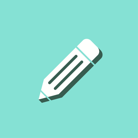 Pen vector icon with shadow. White illustration isolated on green background for graphic and web design.