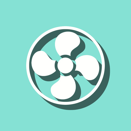 aeration: Fan vector icon with shadow. White illustration isolated on green background for graphic and web design. Illustration
